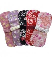 오가닉 벚꽃 무늬 면 생리대 (팬티라이너용 5매입)